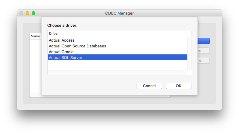 ODBC Manager Driver List